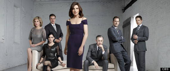 Cast of the CBS series The Good Wife Actors (Characters) from LtoR: Christine Baranski (Diane Lockhart) , Chris Noth (Peter Florrick), Archie Panjabi (Kalinda Sherma), Julianna Margulies (Alicia Florrick), Alan Cumming (Eli Gold), Josh Charles (Will Gardner), and Matt Czuchry (Cary Agos)  Source: CBS  Photo: Justin Stephens